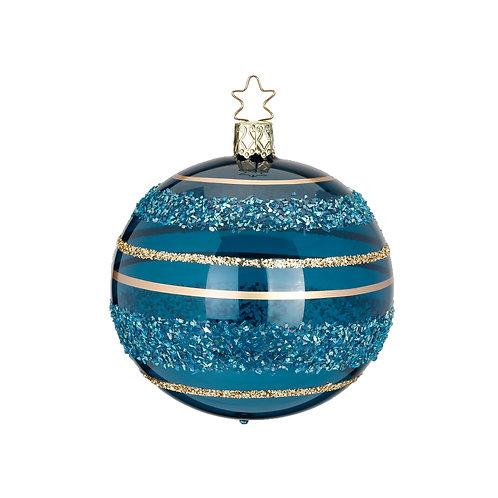 Glitter Lines Blue/Green 8cm Bauble - Inge Glas