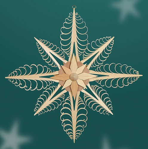 Window Hanging - Natural 8 Carved Christmas Trees Star