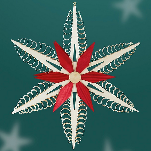 Natural Christmas Tree Star + Red Star