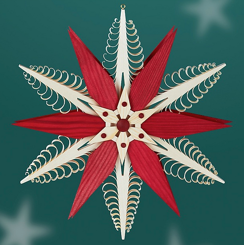 Natural Carved Tree Star + Red Star + Natural Star