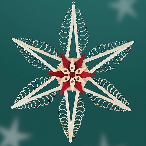 Natural Carved Tree Star + Red Star