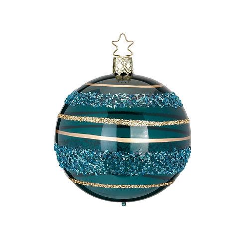 Glitter Lines Turquoise 8cm Bauble - Inge Glas