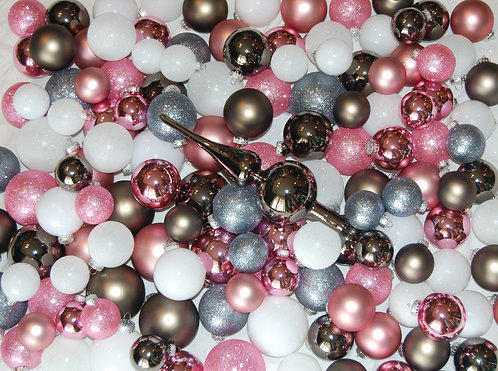 Glass Baubles 217 pce Whole Tree Set - Pink