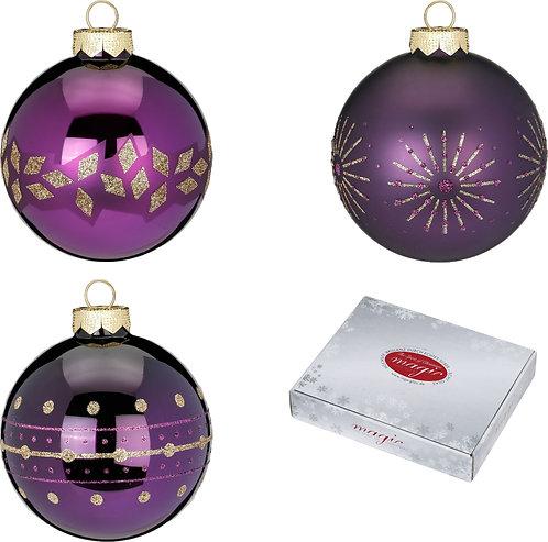 Assorted Purple Deluxe Glass Baubles - 6cm