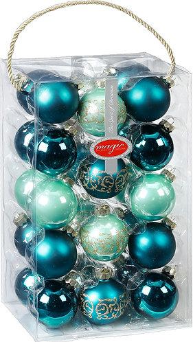 Emerald Green Glass Bauble Set - 28x 6cm