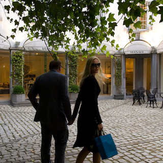BRUSSELS - Couple at a Versace store