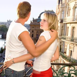 PRAGUE - Girl with her boyfriend
