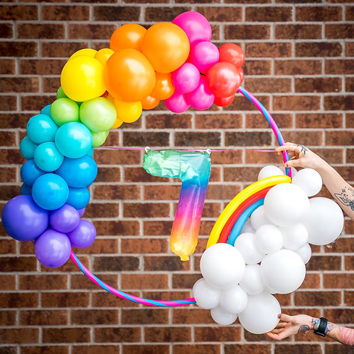 Rainbow Balloon Hoop - Balloon Number or Letter