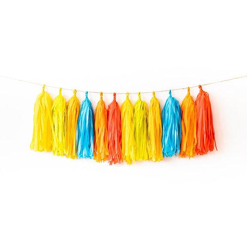 Retro Rainbow Tassel Garland Balloon Tail