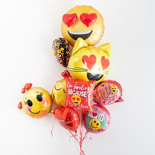 Emoji Valentines Helium Balloon Bouquet