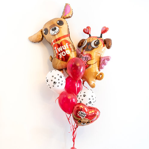 Puppy Love - Valentines Helium Balloon Bouquet