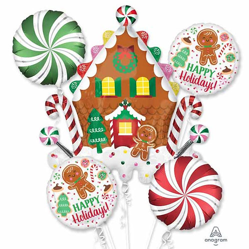 Gingerbread Holiday Helium Balloon Bouquet