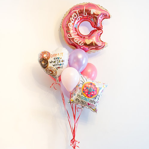 Donut Valentines Helium Balloon Bouquet