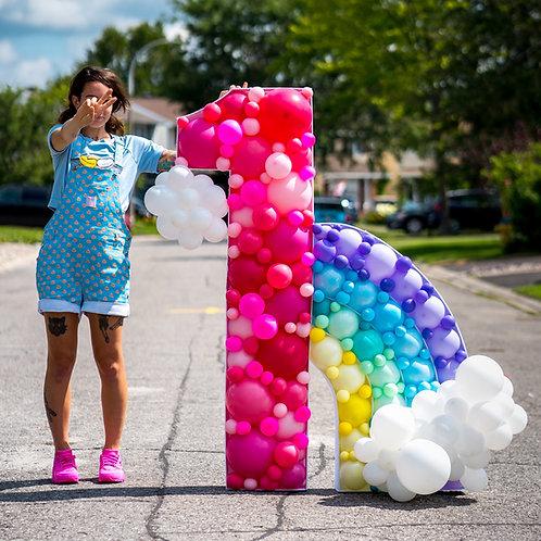 Rainbow Balloon Mosaic Number - Custom Colors