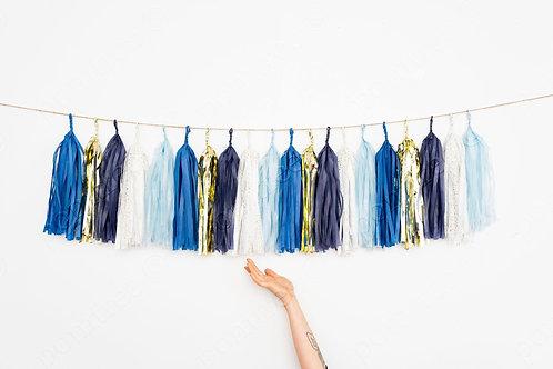 Blue Gold Tassel Garland Balloon Tail