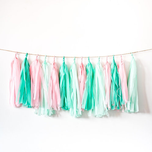 Pink and Green Tassel Garland Balloon Tail
