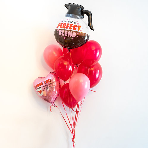 Coffee Valentines Helium Balloon Bouquet