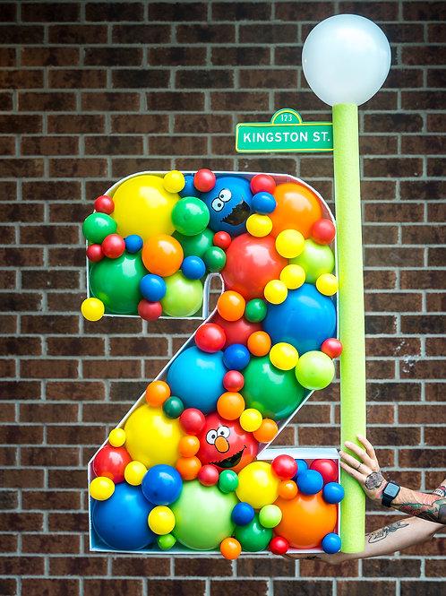 Sesame Street Balloon Mosaic Number - Custom Name