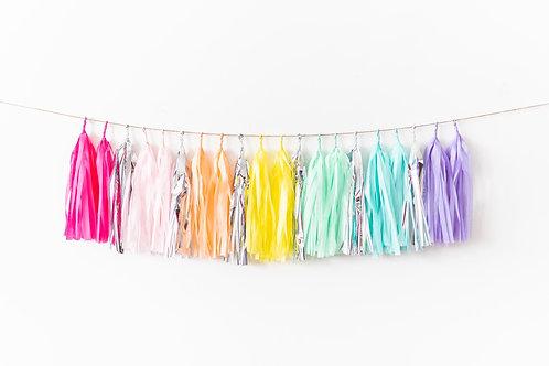 Pastel Rainbow Silver Garland Balloon Tail