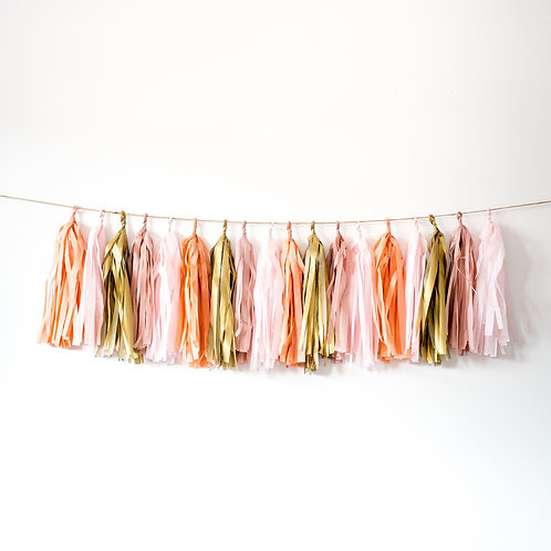 Blush Pink Neutral Tassel Garland Balloon Tail