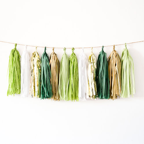Greenery and Gold Tassel Garland Balloon Tail