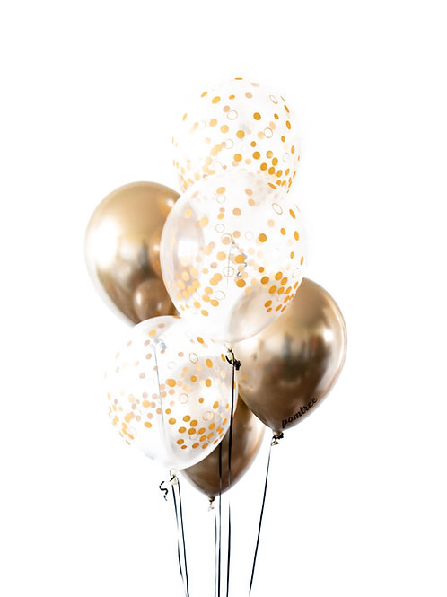 Gold Confetti Print Helium Bouquet