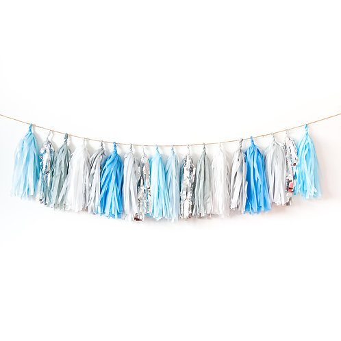 Blue and Silver Tassel Garland Balloon Tail