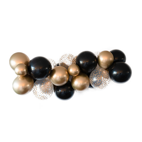 Black Gold Balloon Garland (Ready to Hang)