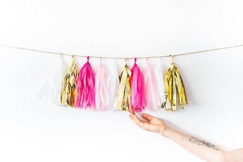 Hot Pink Gold Garland Balloon Tail