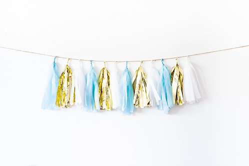 Baby Blue  Gold Garland Balloon Tail