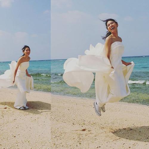 #ウエディングドレス姿#マーメイドドレス #オーダードレス #ジャンプ 姿の花嫁