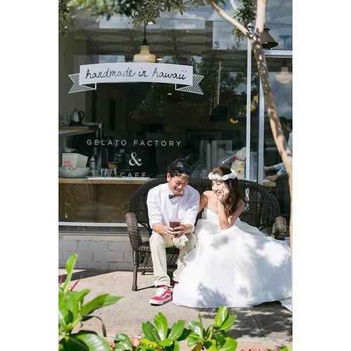 セミュー・ジュンコタマイドレスの先輩花嫁さま💒_ハワイ挙式を終えられた後の素敵
