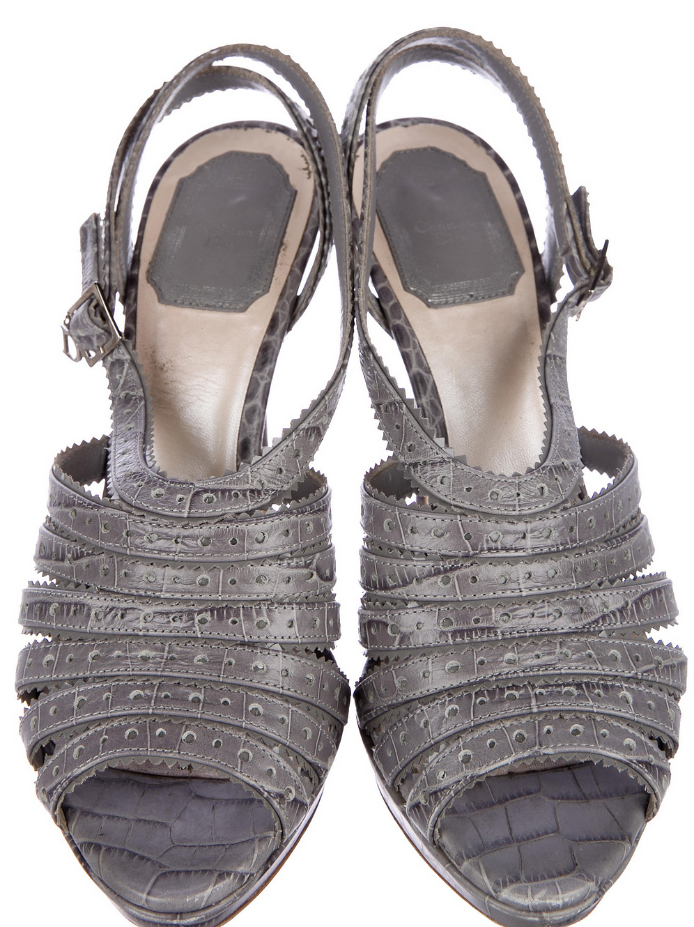 989c18210 Grey crocodile Christian Dior Bonnie sandals with patent leather trim |  BagsandBottoms.com