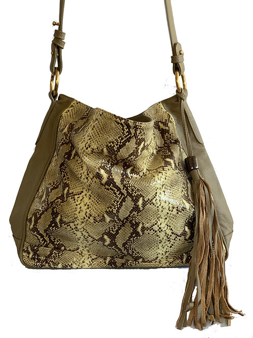Josef Bag Latter with Brown and Beige printed leather and Opal