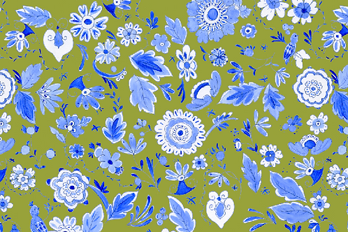 Delft Blue and Green Botanical