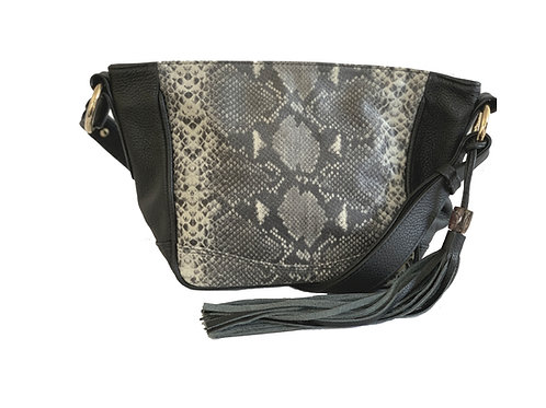 Anni Bag Black and White Printed Leather with Opal