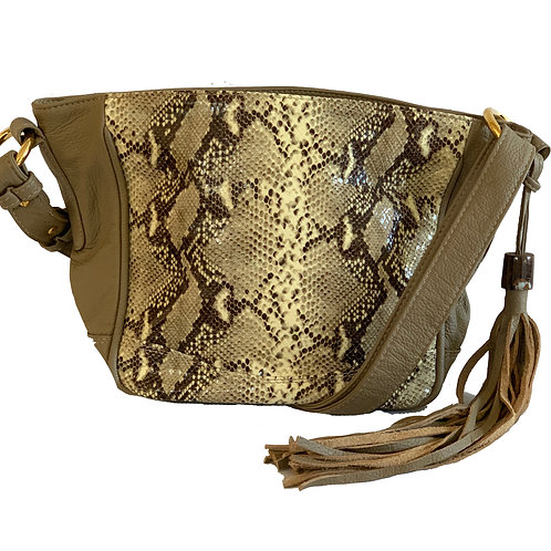 Anni Bag Latte with brown and beige printed leather