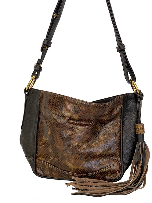 Anni Bag Chocolate with printed leather and Opal