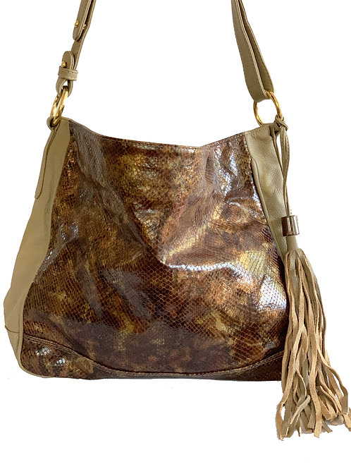 Josef Bag Latte with Chocolate Printed leather and Opal