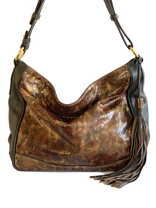 Josef Bag with Chocolate Printed leather and Opal