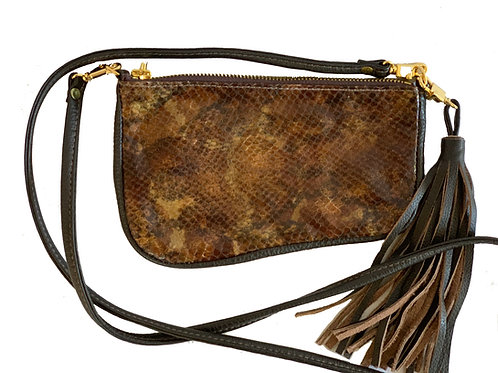 Ocre Clutch Chocolate with printed leather