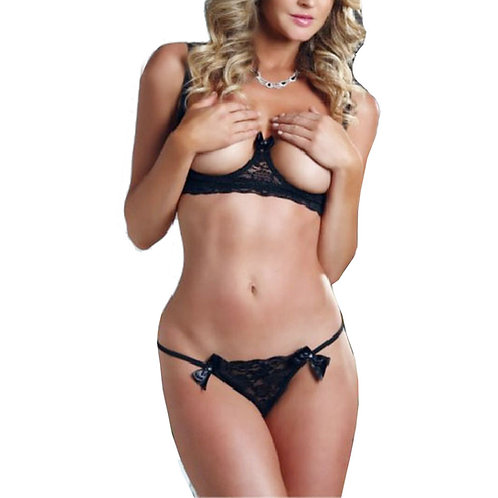 Open Breast Underwired Lingerie Set 4257