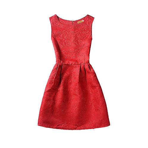 Teens Girls Jacquard Sleeveless Evening Dress