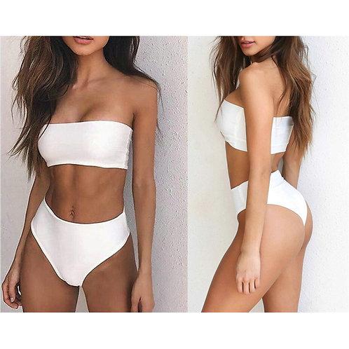 Sexy Colourful Bandeau High Waisted Bikini Set 8054