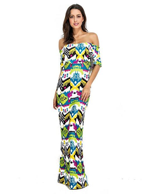 Ruffled Off Shoulder Printed Pattern Long Dress 000101