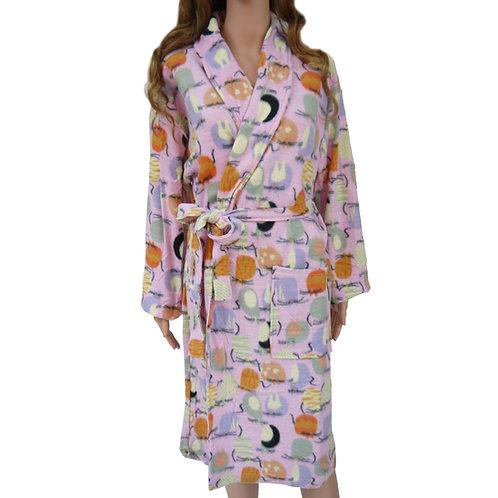 Fleece Pattern Bathrobe Dressing Gown 8807