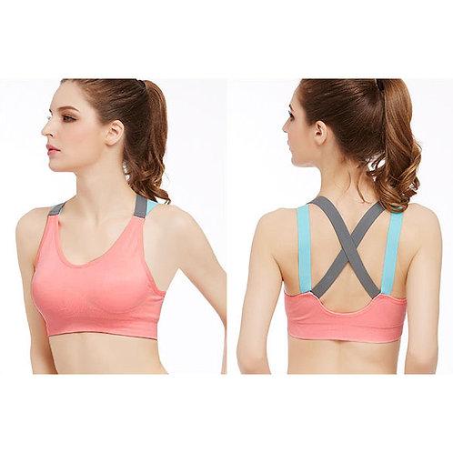 Fashion Seamless Padded Sports Yoga Bra Crop Top Plain Cross Back