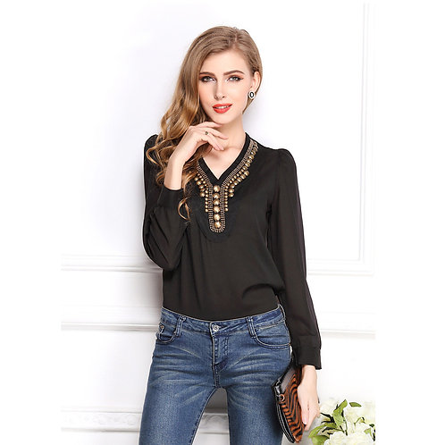 Retro Chiffon V-neck Long Sleeve Top 1367