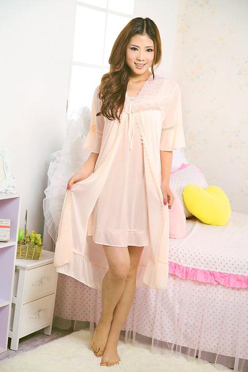 Womens Silky Lace Chemises and Kimono Robe10