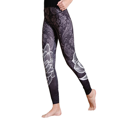 Demask with Lotus Printed High Waist Leggings plus size 3078